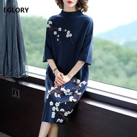 New 2020 Autumn Winter Fashion Long Sweater Dress High Quality Women Flower Patterns 3/4 Sleeve Casual Plus Size Knitted Sweater