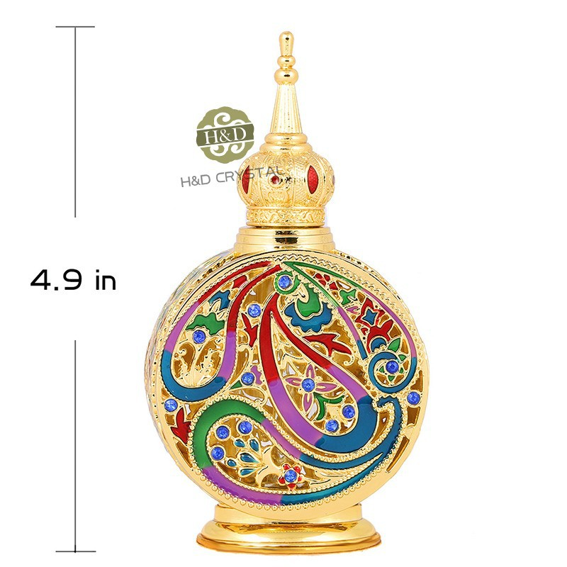 18ML Retro Antique Glass Perfume Bottle 1.4 inch Flower Vine Empty Glass Cosmetic Container Wedding Decoration Perfume Bottle(1)