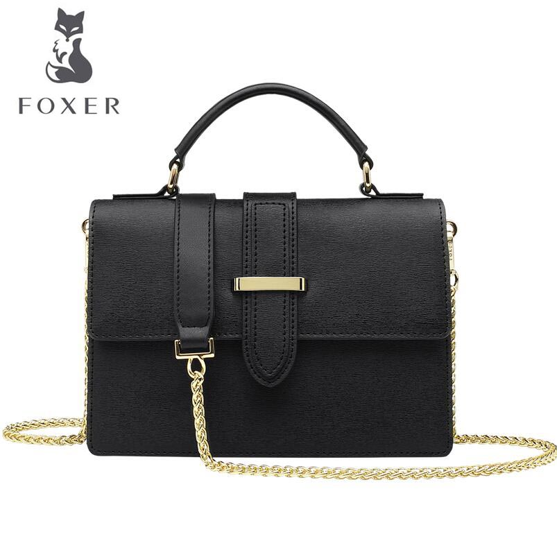 FOXER 2018 New women Leather bag designer fashion chains Cowhide small square bag women leather Shoulder Crossbody Bags 2018 new foxer brand women leather bag high quality fashion chains women shoulder messenger bag cowhide black simple small bag