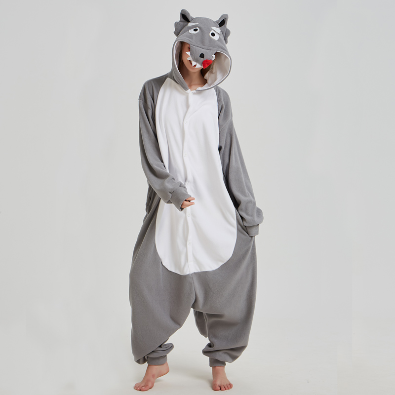 Fancy Grey Wolf Kigurumi Pajama Animal Adult Onesies For Women Pyjamas One-Piece Sleepwear Pyjamas Halloween Christmas Party (5)