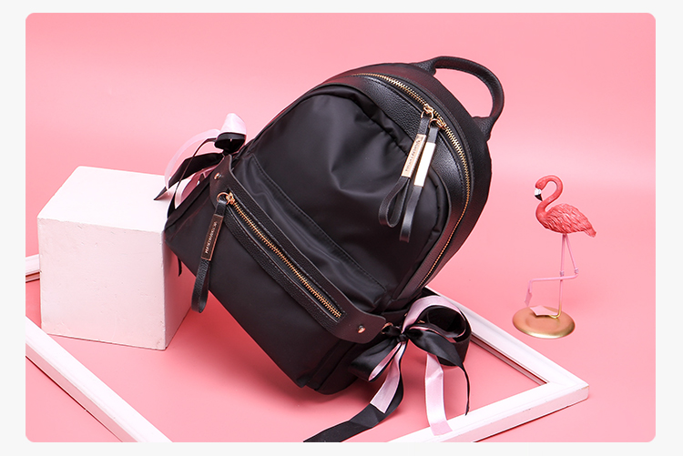 9b371c980d8 Popular Women Black Backpack Nylon Fabric Small Cute Backpack Invisible  Back Pocket Small Simple Design Pure Color Soft Feeling-in Backpacks from  Luggage ...