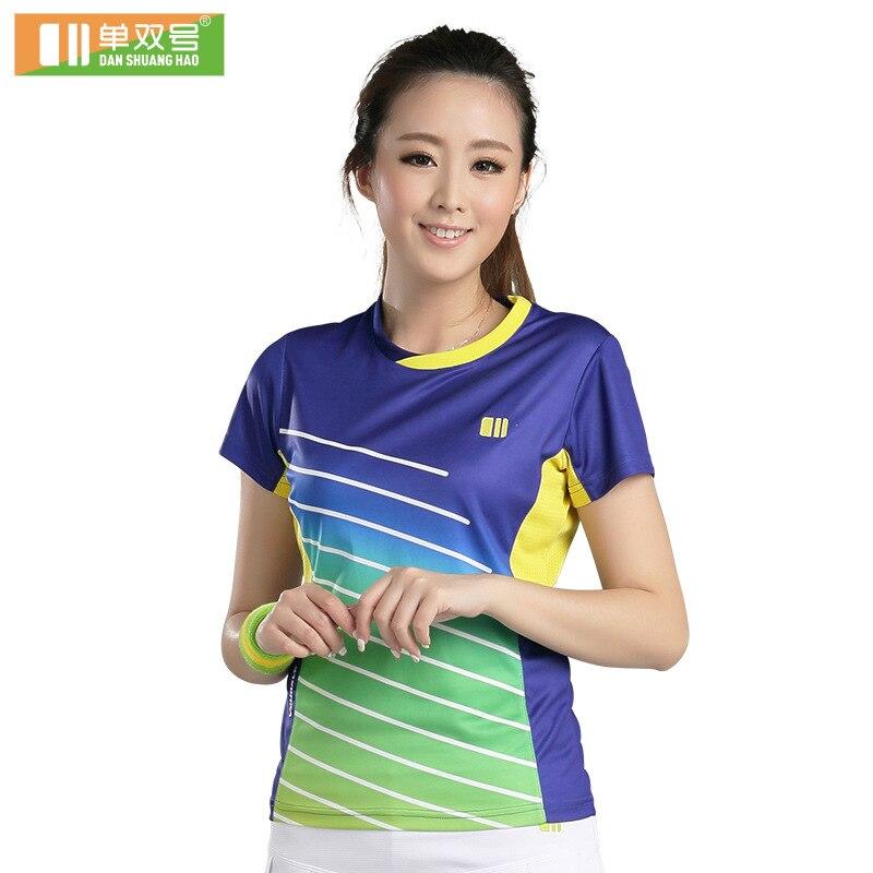 Femmes badminton chemise tennis de table vêtements fille tennis t-shirt à manches courtes sport tee 21079