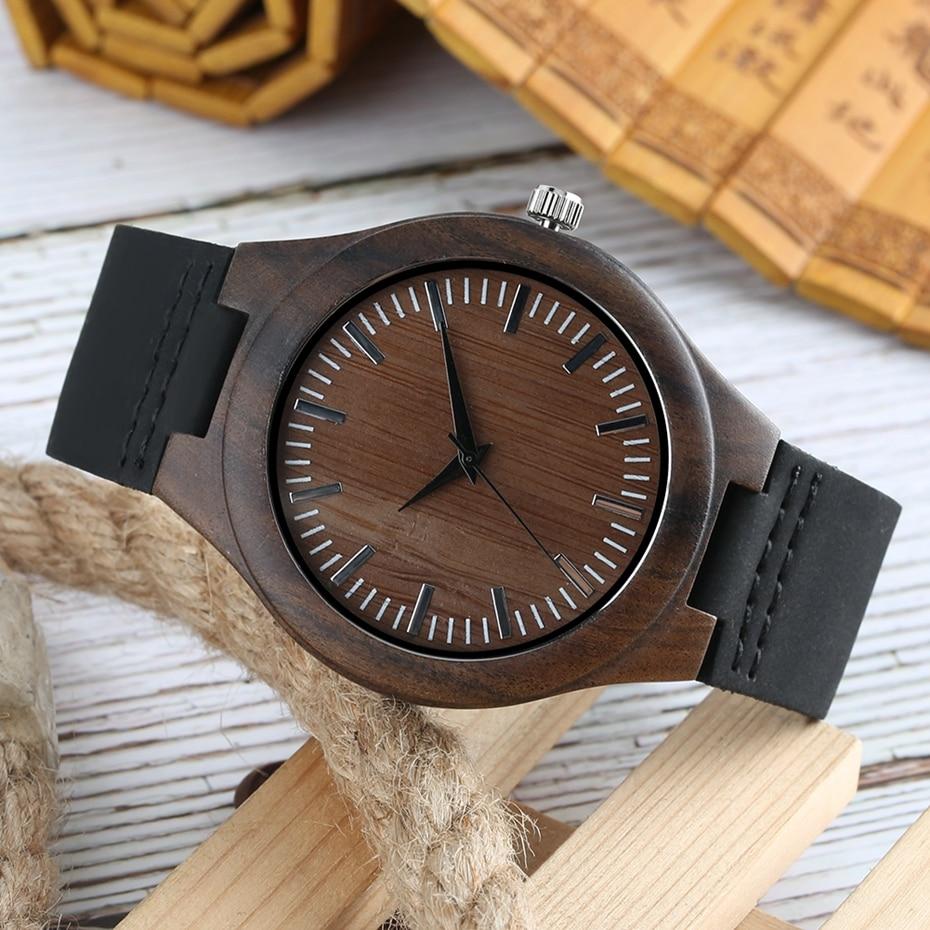 Men Wooden Watches Retro Ebony Wood Case Green Dial Handmade Engraved Scale Casual Military Sports Clock Man Quartz Wrist Watch 2020 2019 2018 (18)