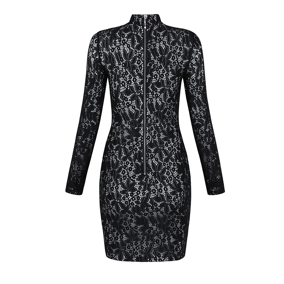 Party Celebrity Sexy Partie Dentelle Stand 2018 Eau Automne Nuit Robe Mini Robes Cou Mlle Gaine Complet Noir bf6y7g