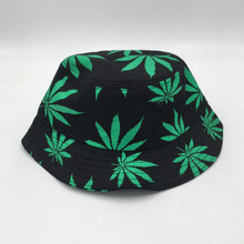 Which in shower Women men green white colorful weed bucket hat hip hop outdoor sports fishing cap summer printed sun hat panama