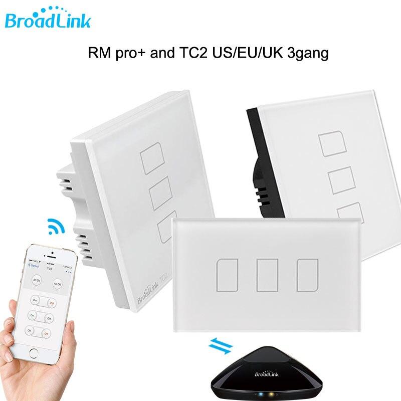 Nouveau Broadlink rm pro rm03 WIFI + IR + RFUniversal contrôleur Intelligent + TC2 3 Gang Sans Fil Tactile En Verre Mur Interrupteur Smart Home