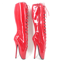 Стильные женские балетки на каблуке острые туфли на высоком каблуке 7 inch (17 78 см) красного цвета высокие ботинки по колено высокие ботинки са