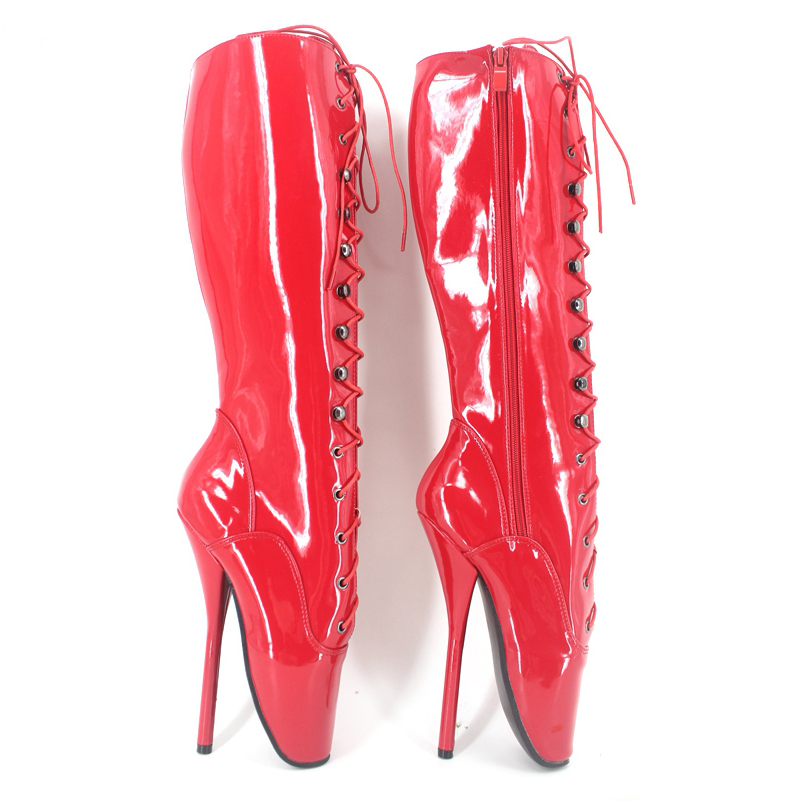 Sexy Ballet Heels Women Boots 7inch Spike High Heel Red Knee High Boots With Lace BDSM Plus Size Unisex High Heel Boots Shoes jialuowei sexy 18cm 7 spike high heel ballet knee high boots with lace bdsm unisex thin heel knee high boots plus size