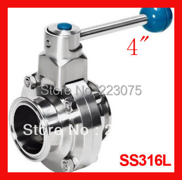 Solenoid Valve Air Pressure Regulator New Arrival 4  Ss316l Stainless Steel Sanitary Manual Tc Butterfly Valve Tri-clamp End dn100 silicon manual handle ss304 butterfly valve thread sanitary stainless steel
