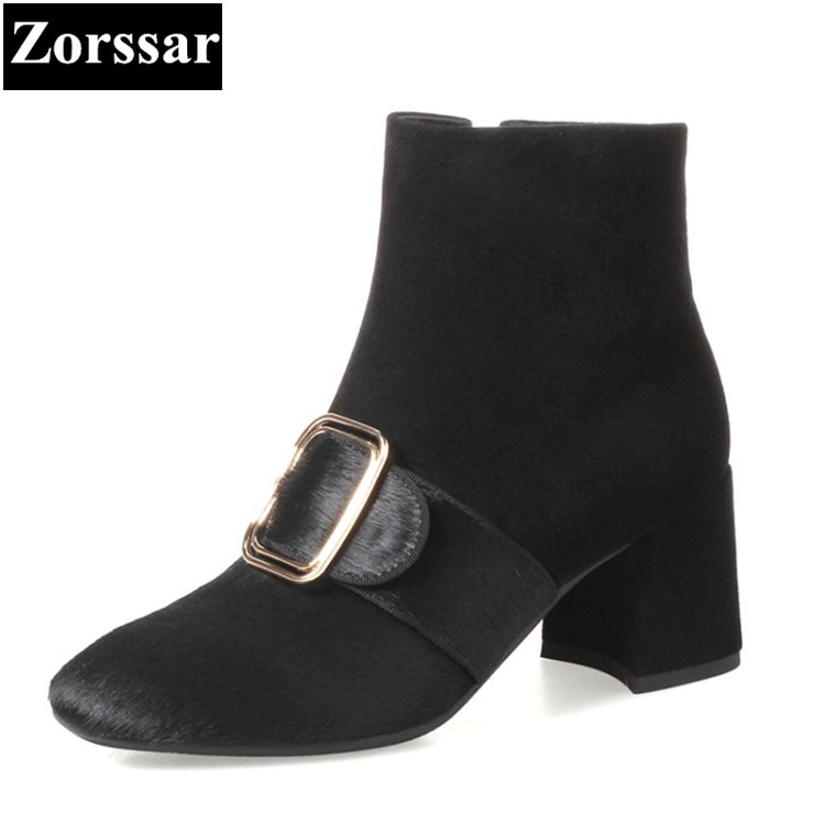 {Zorssar} 2017 Fashion buckle Cow Suede short boots comfort Square heel women Ankle Boots High heels Autumn Winter Woman shoes enmayla autumn winter chelsea ankle boots for women faux suede square toe high heels shoes woman chunky heels boots khaki black