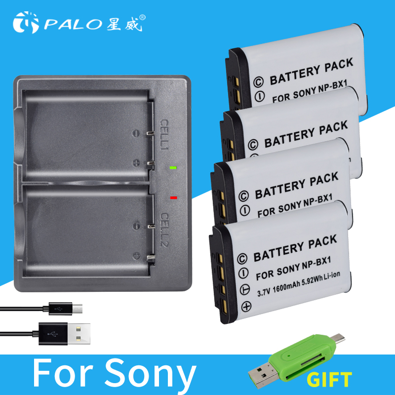 Palo 4Pcs Li-ion 1600mAh NP-BX1 NP BX1 Digital Battery Packs + LED USB Charger for Sony DSC RX1 AS100V M3 HX3000 HX50 HX60 GWP88 sony np bx1
