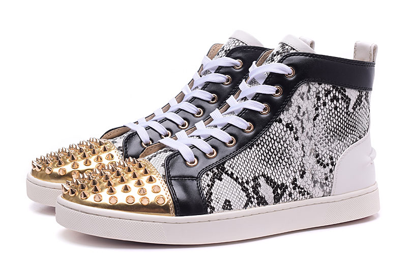 Gold Rivets Toe Men Sneakers Leopard Print Genuine Leather Mens High Top Tenis Shoes Luxury Designer Lace up Man Casual Shoes