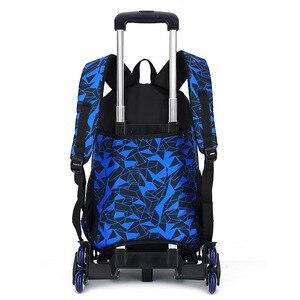 Image 2 - Школьный рюкзак для подростков со съемными детскими школьными сумками с 2/6 колесами и лестницами для мальчиков и девочек, школьный рюкзак на колесиках, сумка для багажа и книг