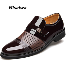 Misalwa 2018 Spring or Summer Men Hollow Out Men Formal Shoes Men Microfiber Leather Quality Shoes Breathable Men Shoes For Business 37-46