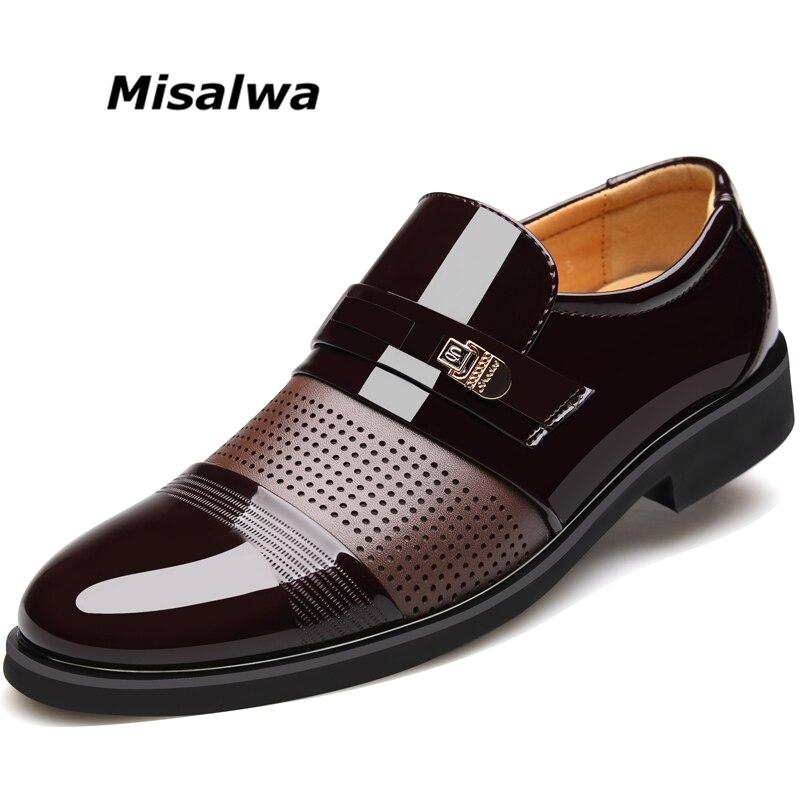 Misalwa 2018 D'été Hommes Évider Hommes Formelle Chaussures Hommes Microfibre En Cuir Qualité Chaussures Respirant Hommes Chaussures Pour Les Entreprises 37 -46