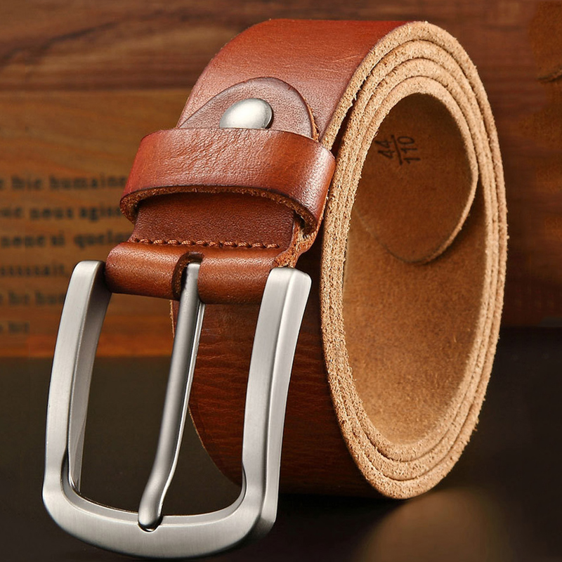 New Luxury Belt Men's Belts Pronged Buckle Man's  Genuine Leather Strap For Jean High Quality Wide Brown Color Crazy Horse
