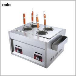 XEOLEO Desktop Pasta Cooker Gas Noodle boilerPasta boiler stove Commercial 4 Baskets Cooking noodle machine Pasta strainer