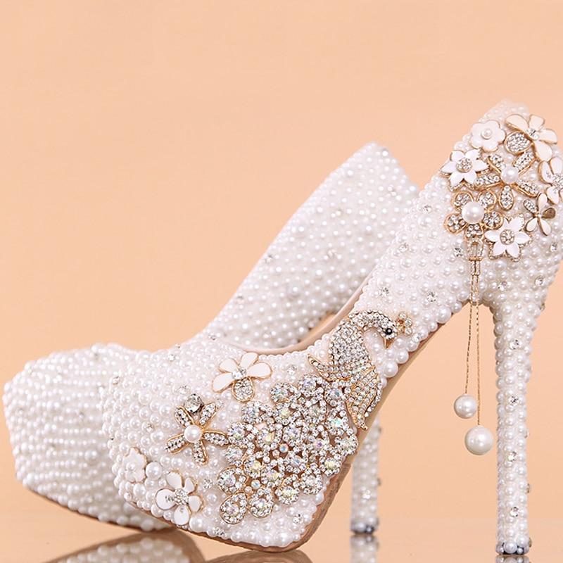 12cm white Talon Haut Stiletto White Strass Heels 14 Lune Rond Lady Mode Mariée Chaussures Cm Heels Femme De 14cm Mariage Nouveau 10cm Bout Pompes Miel Style qwgZBBCf