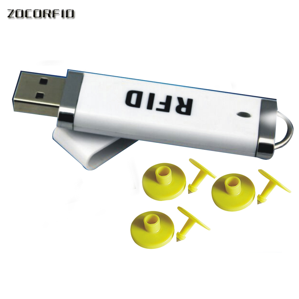 Free Shipping RFID Reader+10pcs Animal RFID Pig Ear Electronic Tags, 125KHZ EM4100 Chips Electronic Tags Animal Quarantine