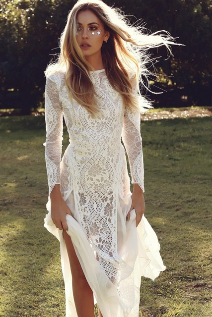 Long Sleeves Wedding Dresses Boho Exquisite Lace Backless Chic Wedding Dress Bridal Gowns Robe De Mariage 2019