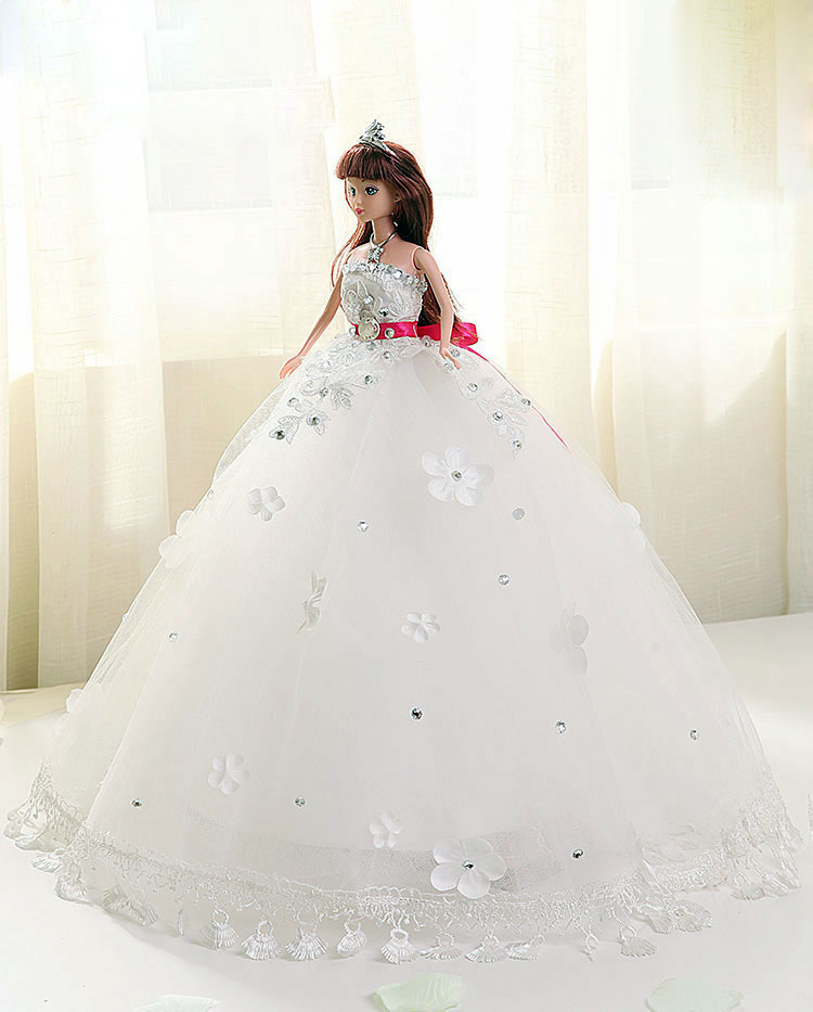 Doll + Wedding Dress /100% Handmade White Crystal Lace Bride Wedding Doll Princess Evening Gown For Kurhn Barbie Doll Decoration doll wedding dress 100% handmade warm red luxury crystal bride wedding doll big trailing evening gown for barbie doll