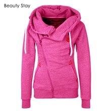 BeautyStay Long Sleeve Pockets Side Zipper Girls Hoodies Women Oversized Zip Hoodie Autumn Winter Female Warm Hooded Sweatshirt