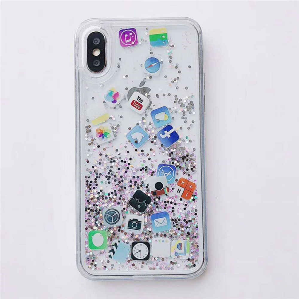 Capa App Quicksand Cute Case For iPhone 7 7Plus 8 8Plus X XS MAX XR Back Water Cover Soft Glitter Protective For Apple 6 6s Plus in Fitted Cases from Cellphones Telecommunications