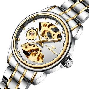Image 3 - 2019 יוקרה נקבה שעון אוטומטי מכאני עסקי שעון גבירותיי שעונים עמיד למים חלול ורוד מכונאי שעון לנשים מתנה