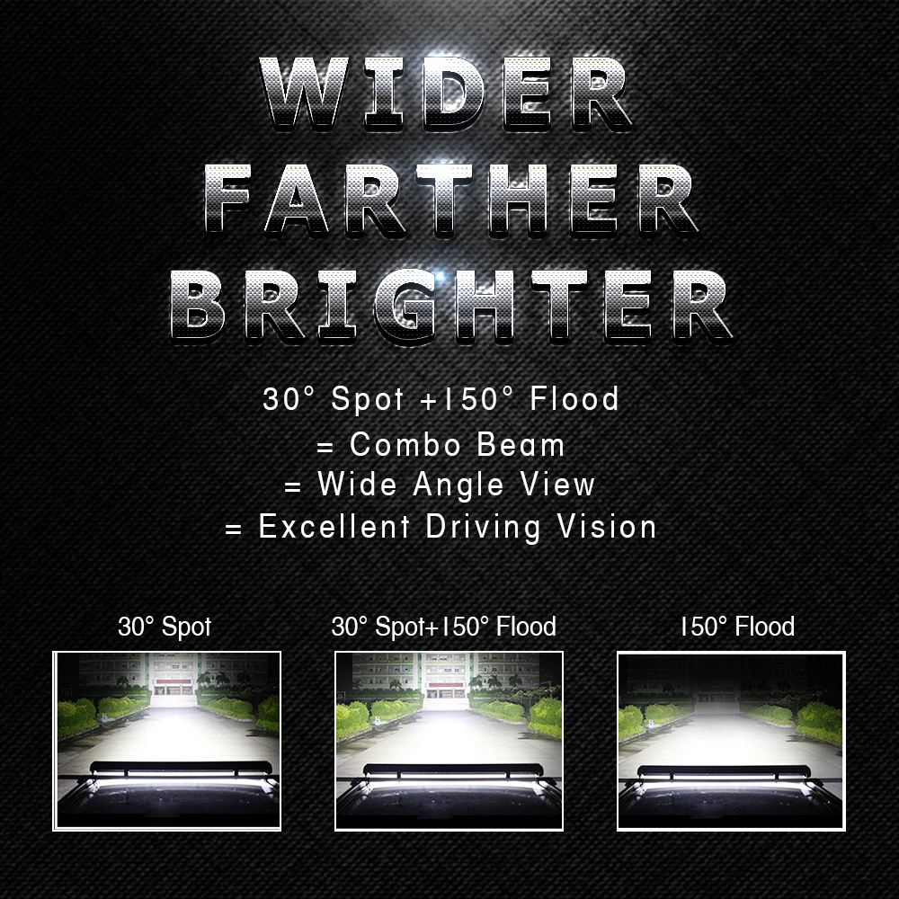 44/'/' 1224W LED Work Light Bar Flood Spot Combo For Offroad 4WD SUV Driving JEEP