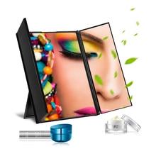 Portable Toilet Three Folding Table LED Lamp Luminous Makeup Mirror