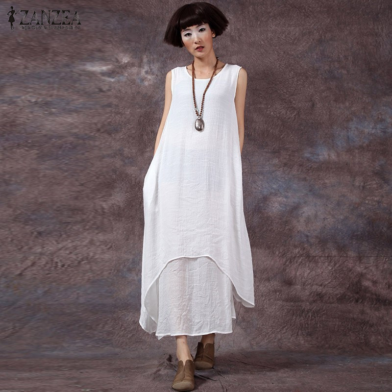 a65c2853534c Cotton Linen Vestidos Plus Size S 3XL ZANZEA Fashion New 2017 Womens  Chinese Style Casual Solid Dresses Long Maxi Loose Dress-in Dresses from  Women s ...