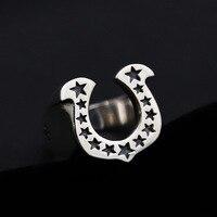 Moda 925 Sterling Silver Retro u-shaped Podkowa Gwiazda Szeroko Otwarte Regulowany Pierścień Mężczyzn ZY266-13 Thai Srebra Rocznika Prezent