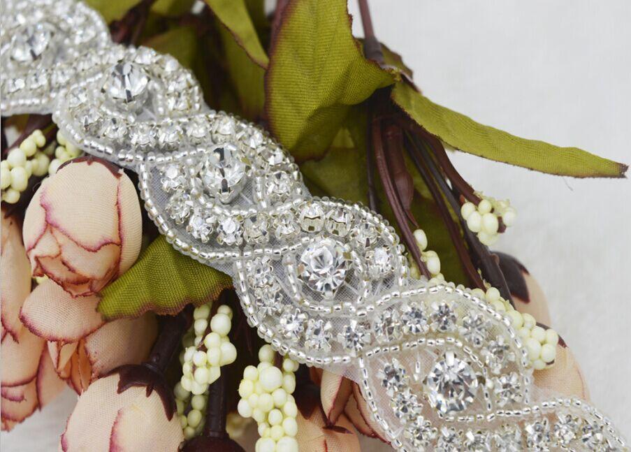 1yard 8 shape design Handmade bridal sash beaded sewing crystal glass  silver rhinestone applique trim iron on for wedding dress-in Rhinestones  from Home ... 9c74c3a619c1