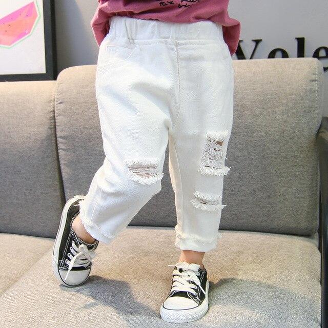 2019 Spring Autumn Baby Girls Ripped Jeans Children Kids Broken Hole Pants White Color Girls Elastic Waist Denim Pants 2