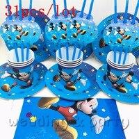 31 ADET çocuklar doğum günü dekorasyon masa örtüsü Saman tabaklar bardaklar karikatür Mickey mouse tema parti malzemeleri için 10 kişiler için parti