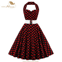 SISHION Plus Size Cotton Dress Hepburn Style Summer Autumn Halter 50s Polka Dot Big Swing Belted