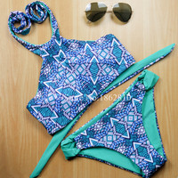 New Fashion Women Sexy Print Striped Patchwork Bikini Set Retro Swimwear Swimsuit Beach Bathing Suit Size