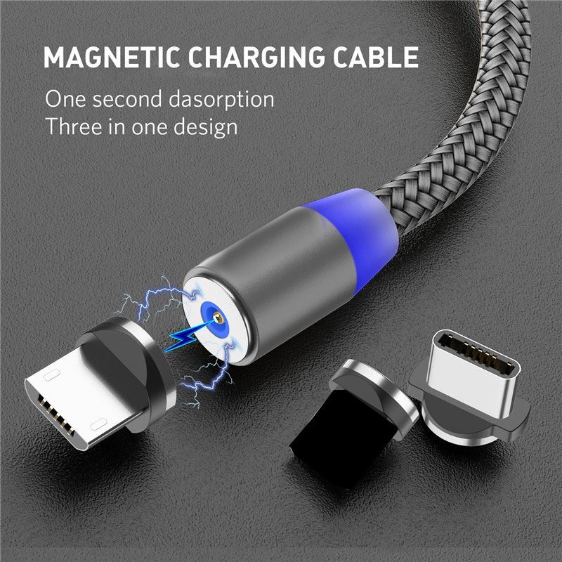 Magnetic Charging Cable Micro USB Cable Type C Phone Charger 2M Nylon Braided Charging Wire Cabo For xiaomi redmi note 7 mi a2