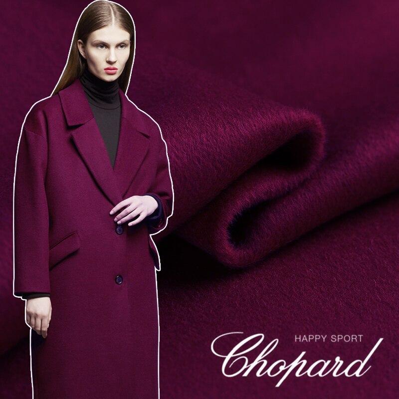 Розовая фиолетовая кашемировая ткань осень зима плотное пальто двухсторонняя кашемировая ткань мягкая австралийская шерстяная ткань