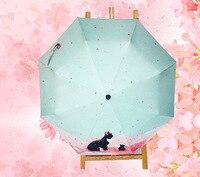 Yaratıcı güzel kedi otomatik Olmayan Şemsiye Güneşli veya yağmurlu amfibi şemsiye