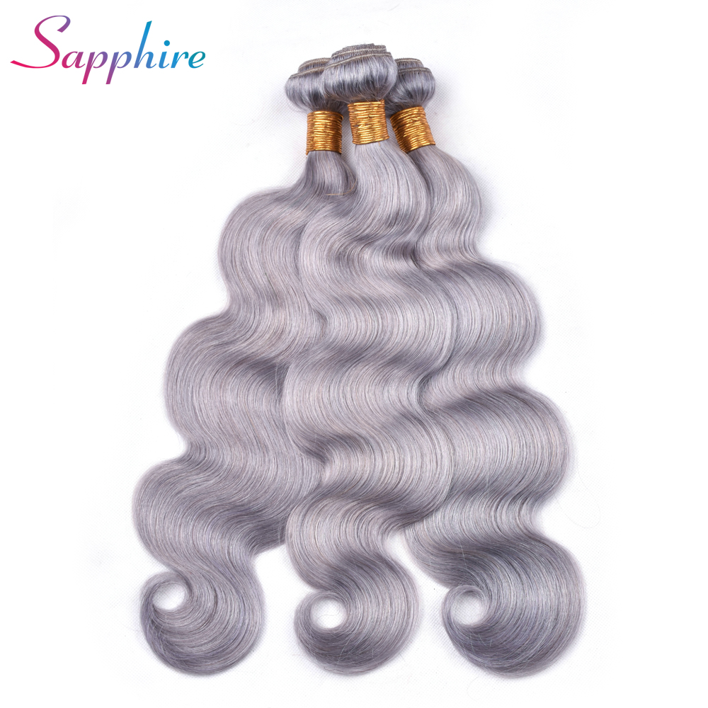 SAPPHIRE Peruvian Human Body Wave Hair Weave Bundles Hair 4 Bundles Pre-Color 100% Human Hair Weaving Remy Grey Color Hair