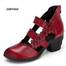 d8f59c168 ZXRYXGS marca as sapatas das mulheres sandálias de salto alto verão 2018  Flores Feitas À Mão sandálias da moda sapatos de couro .