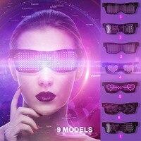Customizable Bluetooth LED Glasses 9 Modes Quick Flash Led Party Glasses USB Charge Luminous Glasses Light Toys Dropshipping