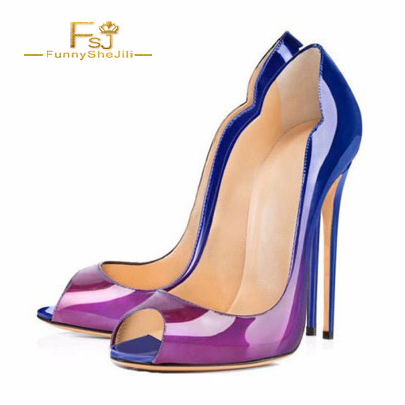 Robe Chaussures Fsj Bureau Cuir Peep Élégant Slip Verni Toe Talons Orteil Saint Sur Sexy Mode Femmes En Marine Fsj01 Valentin 8xqwzBFz6