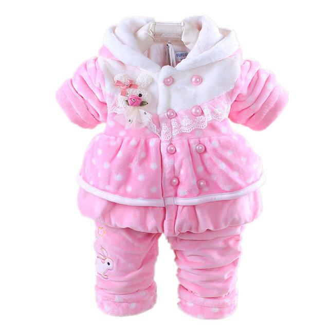 Baby Girl Clothes Conjuntos 2016 Nueva Chica de Invierno Traje de Franela Espesar Cálido Abrigo de Conejo de Dibujos Animados Bebé de la Chaqueta + Pant Niños ropa