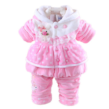 Infant Baby Girl Clothes Sets 2019 New Winter Girl Flannel Suit Thicken Warm Coat Baby Cartoon Jacket+Pant Children Clothing children girls baby cute ears quilted cotton baby clothes winter girl coat clothing fashion hot sale warm boy jacket