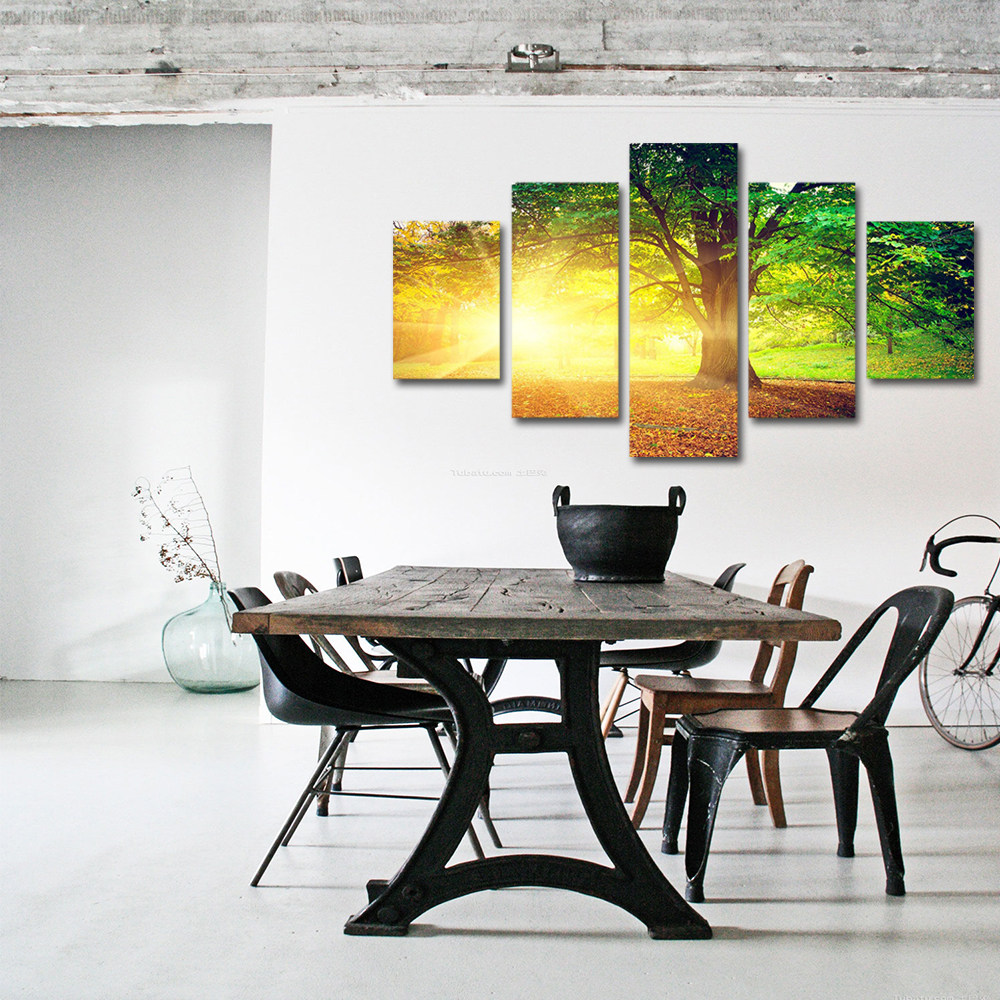 Unframed 5 panel HD Canvas Wall Art Giclee Painting Big Tree With Sunlight Landscape For Living Room Home Decor Free Shipping