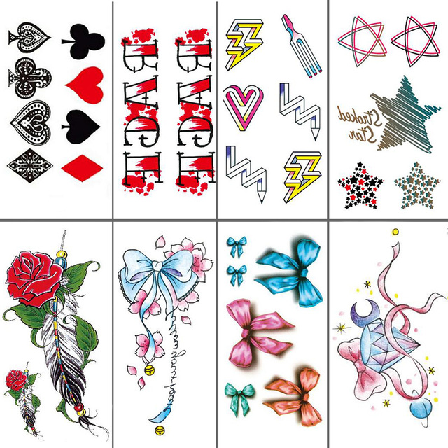 04f216d6c Body Art Beauty Makeup Pink Sexy Clubs Diamonds Spades Tattoo Waterproof  Temporary Tattoo Stickers Sexy