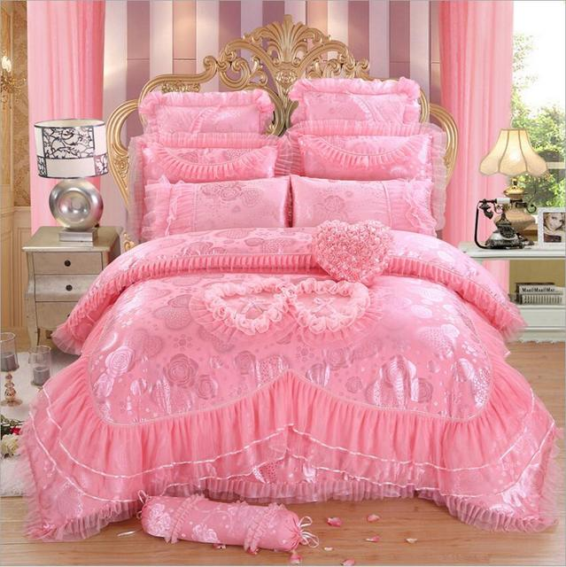 4/6/8 Pcs Jacquard Lace Red Pink Luxury Bedding Set Queen King Size