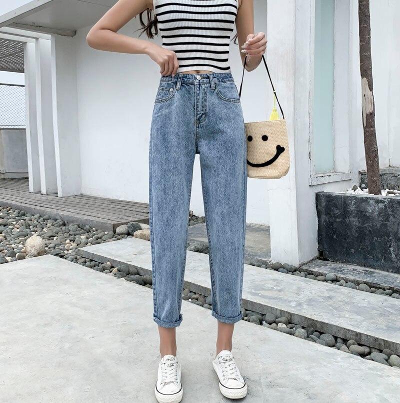 Harem Pants High Waist   Jeans   Vintage Female Denim Pencil Pants Ankle-length Brand Trousers